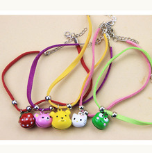 0.5cm DIY Cartoon Pendants Pet Cat Dog Collar Necklace Leather Doggy Puppy Neck Ring Bell Small Animal Necklet Ornament CW-80133