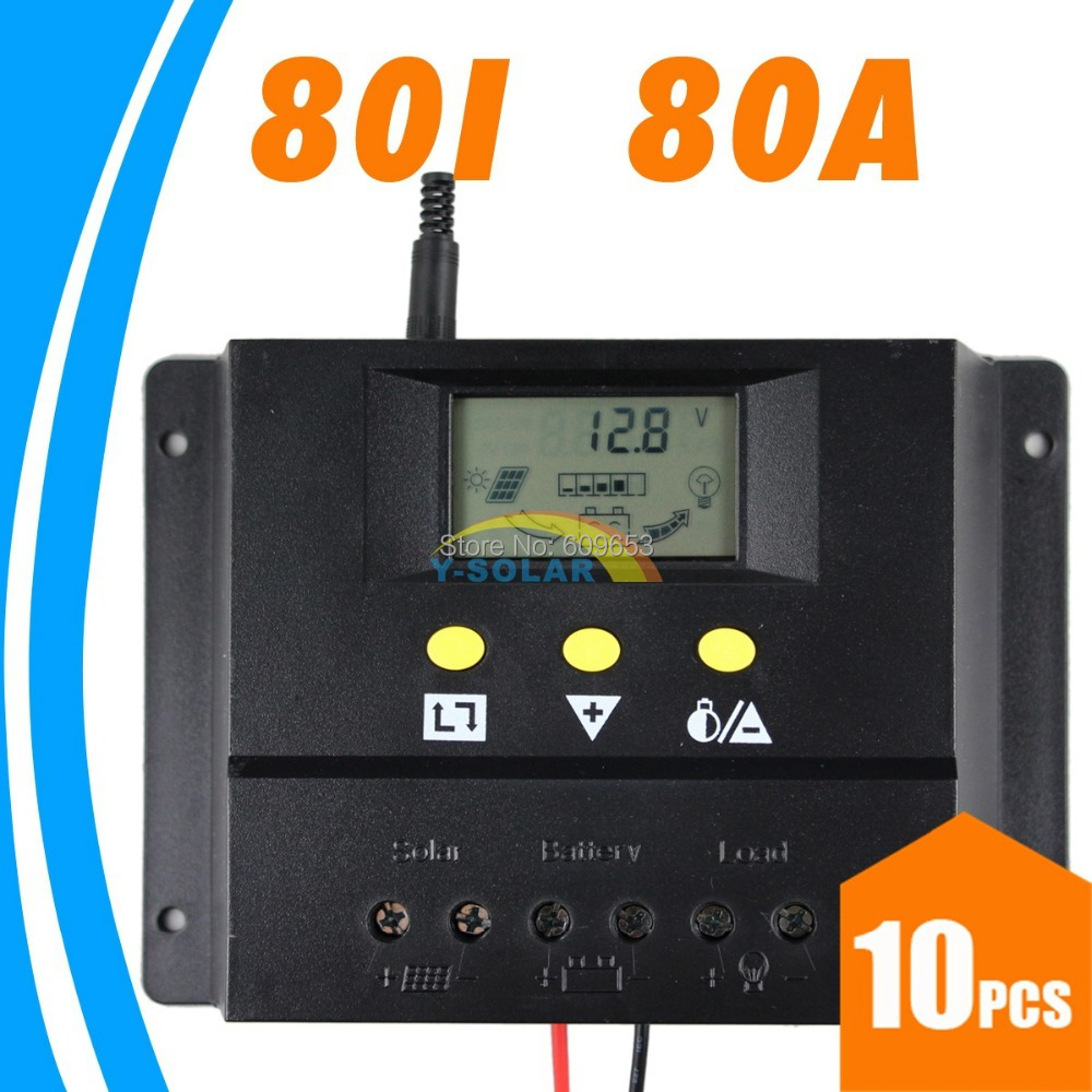 10pcs,80A 12V 24V  Solar Controller PV panel Battery Charge Controller Solar system Home indoor use New<br>