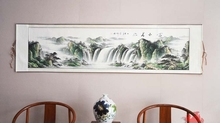 Large Scroll Painting by unmbers Handpainted/Lucky Landscape Mountain tree and River Japanese style/wall art pictures