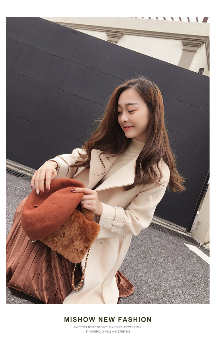 Mishow 19 autumn and winter woolen coat female Mid-Long New Korean temperament women's popular woolen coat MX17D9636 12