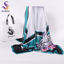 [BYSIFA] Ladies Plaid Square Scarves Headscarves New Beige White And Black Blue Winter Letters Silk Scarf Imitation 110*110cm