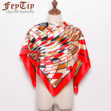 New Fashion Silk Head Scarves Women's Geometric Printed Silk-Satin Fashion Square Shawl Scarves Lady Office Hijab 90cm*90cm