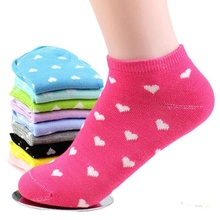 Hot New Cute Lady 5 Pairs Women Girls Casual Cotton Socks Heart Ankle Low Cut Soft Socks(China)
