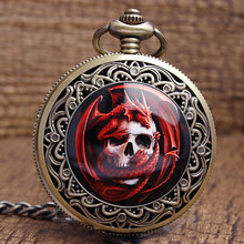 Retro Bronze Steampunk Quartz Pocket Watch Unique Cool Red Skull Dragon Watches Men Women With Fob Chain Necklace Gifts