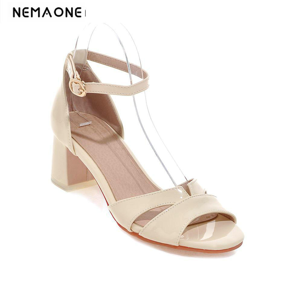 2018 Big Size New Arrivals Women Shoes Fashion Open toe high Heels Women Sandals Sexy Square Heels Sandals<br>