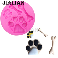 Dog bones dog foot print chocolate Party cake decorating tools DIY baking fondant silicone mold handmade soap mould T0199(China)