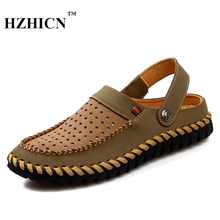2017 Famous Brand Designer Men Slippers Summer Loafers Breathable Flats Handmade Zapatillas Hombre Casual Beach Shoes Flip Flops(China)