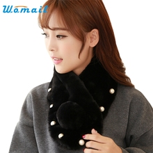 Womail  Good Deal  New Fashion Women Elegant Winter Warm Imitation Pearls Plush Scarves Shawl Scarf Short Scarves Gift 1PC