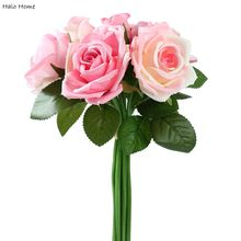 1 Bunch Silk Artificial Flower Pink Rose For Wedding Public places Party Celebrations Home Garden Festival Decor