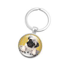 Fashion Pug Dog Key Chain Pug in a Tea Cup Keychain Jewelry Art Glass Cabochon Pendant Key Ring for Women Creative Keyring Gift