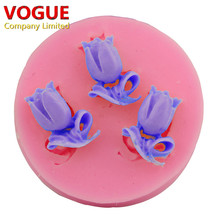 Love Fame Flower 3-Hole Tulip Design Styling Fondant Cake Silicone Mould Chocolate Candy Mold N2995