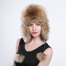women's genuine fox fur Trapper Hat with pom poms winter ear flaps bomber hats muti colors Russian Ushanka outdoor caps(China)