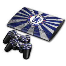 Chelsea Football Team For PS3 Slim 4000 Skin Sticker Decal For Sony PS3 PlayStation 3 Slim 4000 Console and 2 Controllers