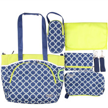 6pcs/Sets Trolley Hook Functional Baby Handbag Fashion Dot Blue Shoulder Diaper Durable Nappy Bags Mummy Mother Baby Tote Bag