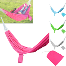Portable Double Person 200x140cm Outdoor Hammock Sleeping Bag Outdoor Sports Home Travel Camping Swing Canvas Stripe Hang Bag