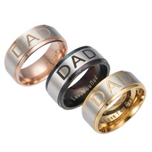 Gaxybb 3 colors Stainless Steel Engraved Ring I Love You Daddy Daddy Men Jewelry Ring DAD Ring(China)
