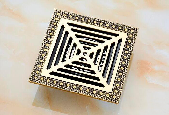 Free shipping 15x15 cm Euro Style Antique Brass Floor Drain Shower Square Waste Grate 150mm X 150mm bathroom drain CF8958<br>