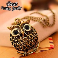 x168 Fashion Delicate Cute Owl Small Pendant Long Chain Necklace Women's Trendy Sweater Decoration Accessory