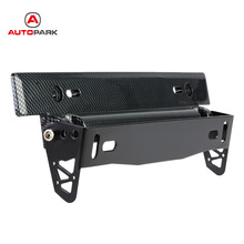 Car-Styling Universal Car License Plate Frame Holder Carbon Fiber Racing Number Plate Holder Adjustable Mount Bracket Accessory(China)
