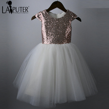 Real Picture Rose Gold Sequins Beige Color Flower Girls Dress For Wedding Cheap 2016 Tulle Custom First Communion Gown(China)