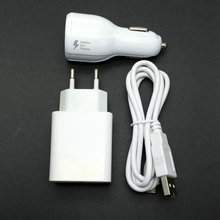 2.4A EU Travel Wall Adapter 2 USB output + Micro USB Cable +car charger For Alcatel One Touch Idol 6030D 6030X 6030A
