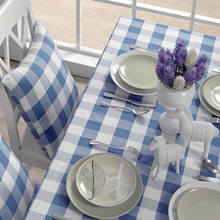 2015 new sale linen tablecloth blue white plaid  table cloth handmade rectangle round tablecloths dinner coffee table covers