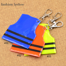 fashion lychee 3pcs 3 Colors Cool Police Vest Reflective Charm Keychain Mobile Phone Strap Key Ring Bag Hanging Pendant