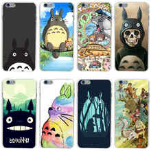 323GH Studio Ghibli Spirited Away Totoro Hard Transparent Painted Cover for iphone 4 4s 5 5s se 6 6s 8 plus 7 7 Plus X