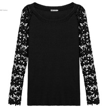 New Fashion Women elegant Floral Lace pattern pullover O neck long sleeve knitwear stylish Casual Slim knitted sweater Tops