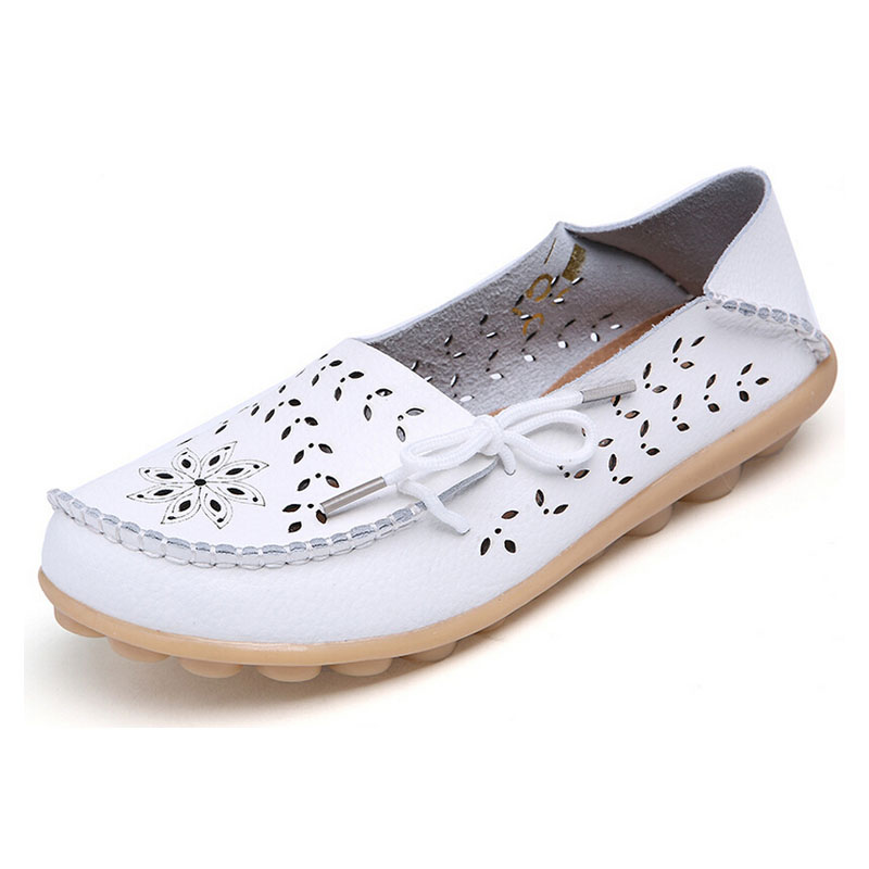 Women Summer Shoes Fashion Genuine Leather Sandals Cutout Summer Flats Loafers Slip On Boat Shoes Plus size 35-41 6d16T<br><br>Aliexpress
