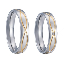 vintage promise wedding rings pair titanium steel gold filled rings handmade jewellery never fade life collection(China)