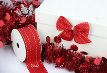 Silver Stitches red grosgrain gift wrapping wired edge ribbon 25yards roll