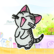 Cartoon cat broidered Iron On Patches Clothes Sequins Patch  DIY Hotfix Motif AppliquePyrograph Heat Transfer