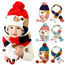 Winter Baby Cartoon Hat and Scarf Winter Autumn Cute Bear Crochet Knitted Caps for Infant Boys Girls Children Kids Neck Warmer