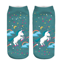 ZHBSLWT Fashion Style Rainbow Unicorn Women Socks 3D Print Low Cut Ankle Comfortable Hosiery Medias Calcetines Calzini Chaussure