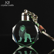 1 Piece Laser Engraved Cartoon The Lion King Crystal Miniature Keychain With Changing Colors Light For Onaments Home Decor Gifts