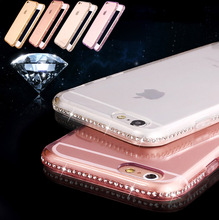 Soft TPU Bling diamond Frame Rhinestone Case Crystal Back Transparent Shell Bag Phone Cover For iphone 5 5s SE 5SE 6 6s Plus