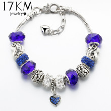 17KM Vintage Silver Color Charm Glass Bracelets For Women 2017 New Crystal Heart Beads Bracelets & Bangles Pulseras DIY Jewelry