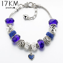 17KM Vintage Silver Color Charm Glass Bracelets For Women 2017 New Crystal Heart Beads Bracelets & Bangles Pulseras DIY Jewelry(China)