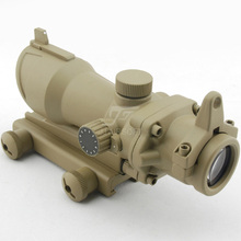 JJ Airsoft ACOG Style 4x32 Scope Red/Green Reticle (Tan) Full Line Red Illumination FREE SHIPPING