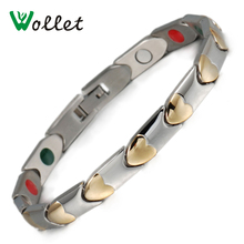 Wollet Jewelry 21cm Healing Energy Gold Color Bracelets Magnetic Germanium Tourmaline Ions Stainless Steel Bracelet For Women