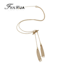 FANHUA Fashion Jewellery maxi collier Gold Silver Color  Chain Long Tassel Necklace For Women New Collier Femme