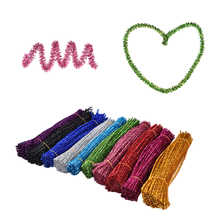 100pcs/lot Glitter Creative Arts Chenille Stem Class Pack Rainbow Colors Kids Pipe Cleaners Plush stick DIY Handcrafted craft(China)