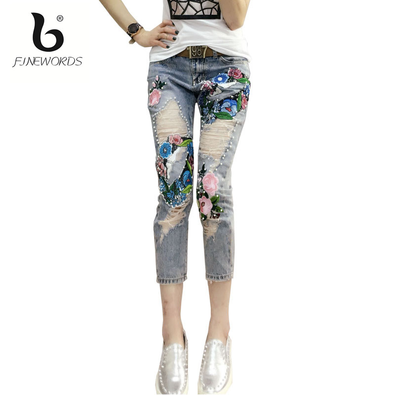 FINEWORDS 2017 New Autumn Winter Rose Floral Embroidered Beading Ripped Boyfriend Jeans For Women Casual Skinny Harem Denim PantÎäåæäà è àêñåññóàðû<br><br>