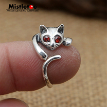 Genuine 100% 925 Sterling Silver Vintage Punk Locomotive Cat Red CZ Ring For Women Men Fashion Jewelry(China)