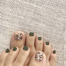 Green Leopard Fake Nails Square Head Short Paragraph Manicure Accessories Summer Bride's Fake Toenail Patch Nail Art(China)