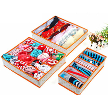 3 Pcs/set Cotton Folding Organizer Storage Box Set For Holder Bra Underwear Tie Socks 2017 Organizadores 6/7/24 Cell Butihome