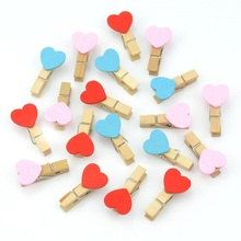 12 pcs Excellent Quality 35mm Mini Love Wooden Clips For Notes Clothes Photo Wall Decoration Clip Spring DIY Decorative(China)