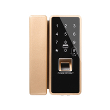 Free Shipping Keypad IC Access Unlock Fingerprint Recognition Time Attendance Electric Lock for Glass Door Battery Power