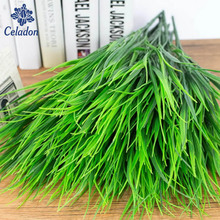 Wholesale 7-fork Green Grass Artificial Plants For Plastic Flowers Household Store Dest Rustic Decoration Clover Plant